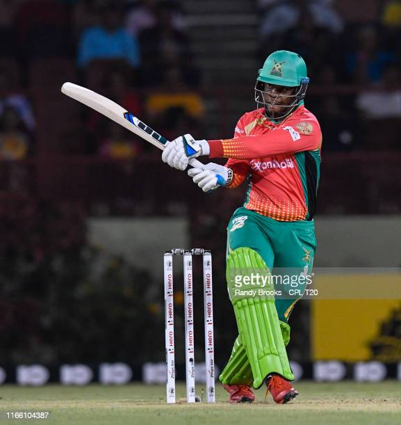 In this handout image provided by CPL T20, Shimron Hetmyer of Guyana Amazon Warriors hits 4 during match 2 of the Hero Caribbean Premier League...