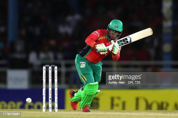 In this handout image provided by CPL T20, Shimron Hetmyer of Guyana Amazon Warriors plays the ball through midwicket during the Hero Caribbean...