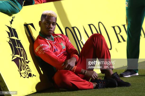 In this handout image provided by CPL T20, Shimron Hetymer of Guyana Amazon Warriors during the Hero Caribbean Premier League Final between Guyana...