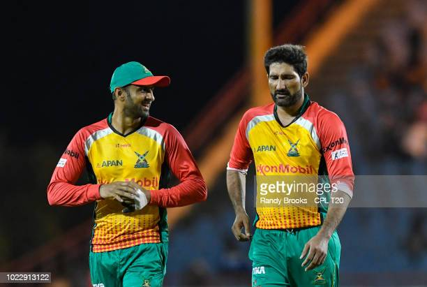 In this handout image provided by CPL T20 Shoaib Malik and Sohail Tanvir of Guyana Amazon Warriors during match 15 of the Hero Caribbean Premier...
