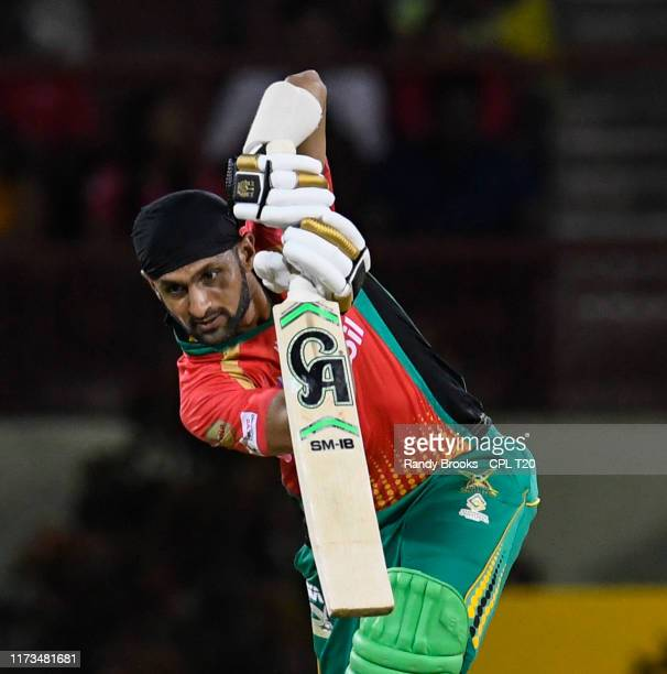 In this handout image provided by CPL T20, Shoaib Malik of Guyana Amazon Warriors hits 4 during match 29 of the Hero Caribbean Premier League between...