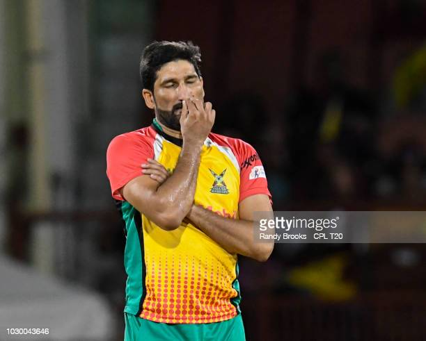 In this handout image provided by CPL T20 Sohail Tanvir of Guyana Amazon Warriors looks disappointed during match 30 of the Hero Caribbean Premier...