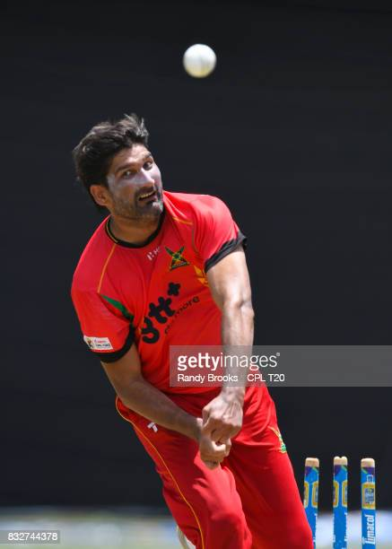 In this handout image provided by CPL T20 Sohail Tanvir of Guyana Amazon Warriors during a training session before Match 15 of the 2017 Hero...