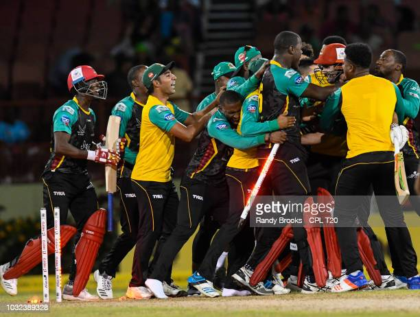 In this handout image provided by CPL T20 St Kitts Nevis Patriots celebrate winning the Hero Caribbean Premier League PlayOff match 32 between St...