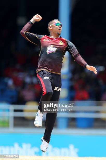 In this handout image provided by CPL T20, Sunil Narine of Trinbago Knight Riders celebrates the wicket of Rahkeem Cornwall of St Lucia Zouks during...