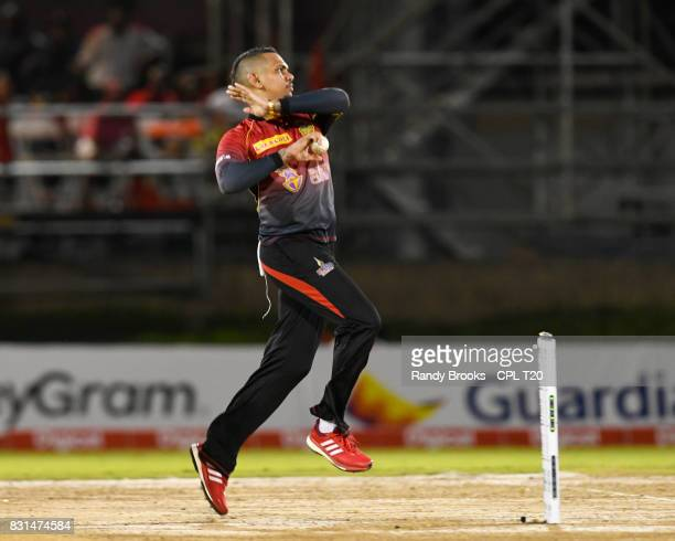 In this handout image provided by CPL T20, Sunil Narine of Trinbago Knight Riders bowling during Match 13 of the 2017 Hero Caribbean Premier League...