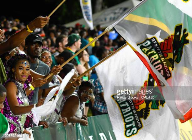 In this handout image provided by CPL T20 Supporters of St Kitts Nevis Patriots during match 26 of the Hero Caribbean Premier League between St Kitts...