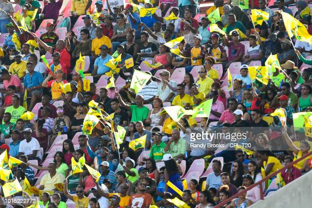 In this handout image provided by CPL T20 The crowd during match 4 of the Hero Caribbean Premier League between Guyana Amazon Warriors and St Lucia...