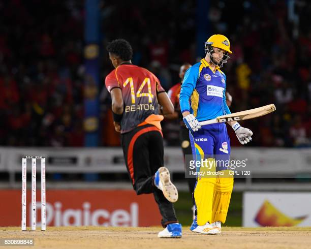 In this handout image provided by CPL T20 Wayne Parnell of Barbados Tridents dismiss by Ronsford Beaton of Trinbago Knight Riders during Match 11 of...