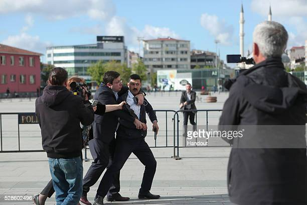 In this handout image provided by Cumhuriyet Newspaper Assailant 40yearold Murat Sahin who attempted to shoot prominent Turkish journalist Can Dundar...