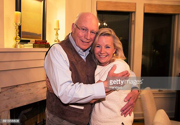 In this handout image provided by David Hume Kennerly former Vice President Dick Cheney hugs his daughter Liz Cheney after she won the Republican...