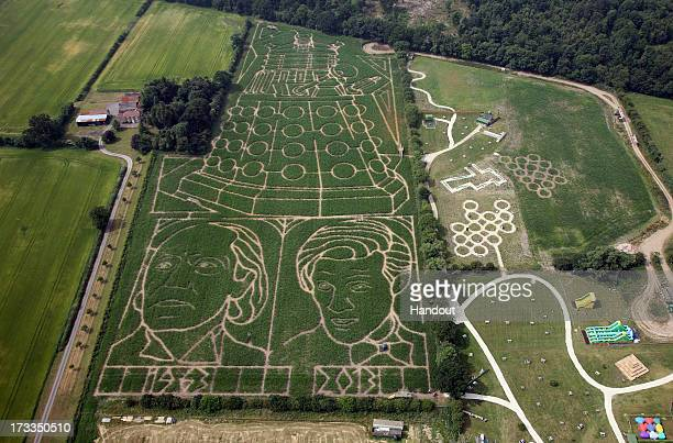In this handout image provided by David Leon/Partners PR A general view of the York Maize maze in the shape of a Dalek and images of the first Doctor...
