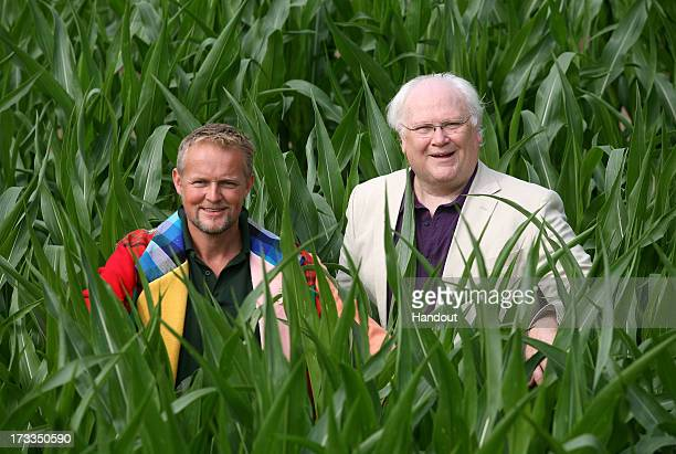 In this handout image provided by David Leon/Partners PR Tom Pearcy and Colin Baker who played the Sixth Doctor pose amongst the York Maize maze...