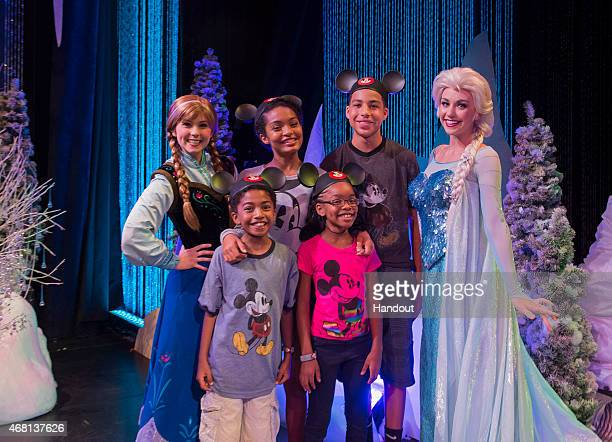 In this handout image provided by Disney Parks, Actors Yara Shahidi, Marcus Scribner, Marsai Martin and Miles Brown, from the cast of the ABC series...