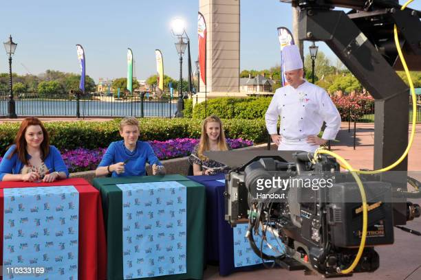 In this Handout image provided by Disney Parks Actress Jennifer Stone from the Disney Channel series 'Wizards of Waverly Place' joins actor Kenton...