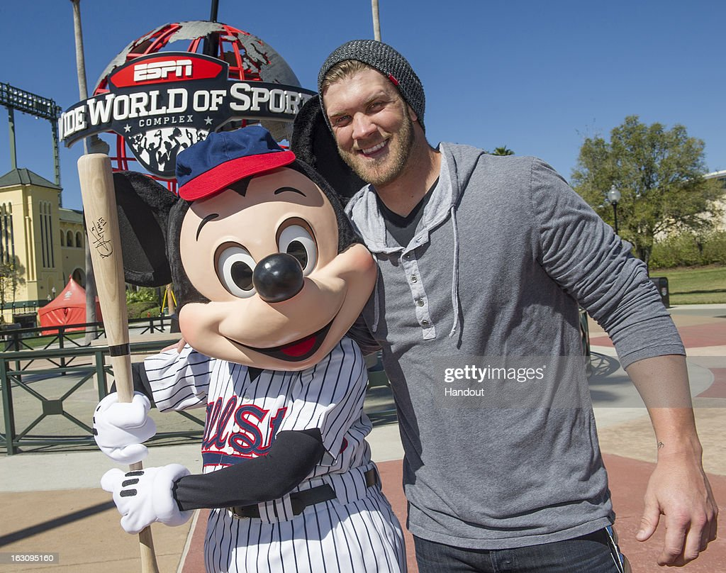 Bryce Harper Meets Mickey Mouse At Disney Sports Complex : News Photo