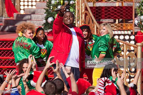 In this handout image provided by Disney RB artist Sean Kingston performs 'This Christmas' while taping a segment for the Disney Parks Christmas Day...