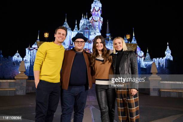 In this handout image provided by Disneyland Resort Disney's Frozen 2 voice actors Jonathan Groff Josh Gad Idina Menzel and Kristen Bell kicked off...