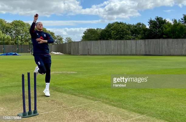 In this handout image provided by ECB, Ben Stokes bowls during an England training session at The Ageas Bowl on June 29, 2020 in Southampton, England.
