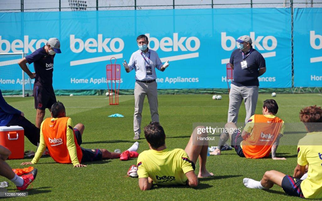Barcelona Players Return To Training Following Coronavirus Lockdown : News Photo