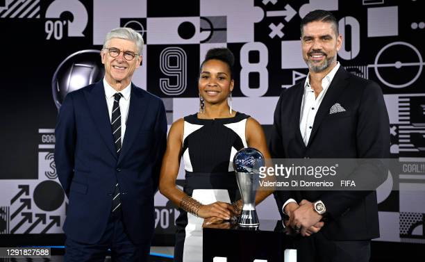 In this handout image provided by FIFA, Arsene Wenger, Laura Georges and Pascal Zuberbuehler pose for a photo after the The Best FIFA Football Awards...