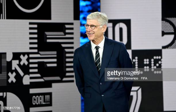 In this handout image provided by FIFA, Arsene Wenger reacts while awarding The Best FIFA Women's Coach award to Sarina Wiegman during the The Best...