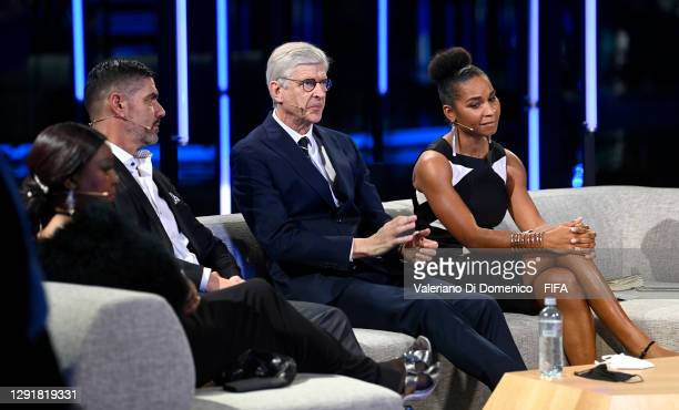 In this handout image provided by FIFA, Fatma Samoura, Secretary General of FIFA, Pascal Zuberbuehler, Arsene Wenger and Laura Georges are seen in...
