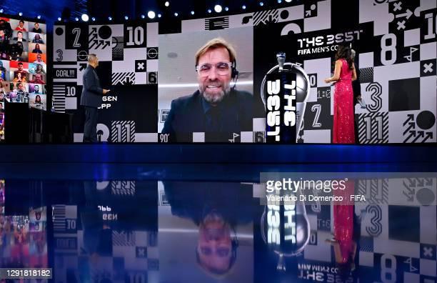 In this handout image provided by FIFA, Juregen Klopp is seen giving a acceptance speech via video link after winning The Best FIFA Men's Coach award...