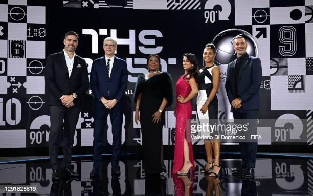 In this handout image provided by FIFA, Pascal Zuberbuehler, Arsene Wenger, Fatma Samoura, Secretary General of FIFA, Reshmin Chowdhury, Laura...