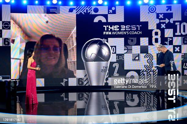 In this handout image provided by FIFA, Sarina Wiegman is seen giving a acceptance speech via video link after winning The Best FIFA Women's Coach...