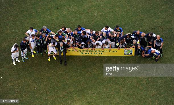 In this handout image provided by FIFA the Italy team celebrate their victory in a penalty shootout during the FIFA Confederations Cup Brazil 2013...