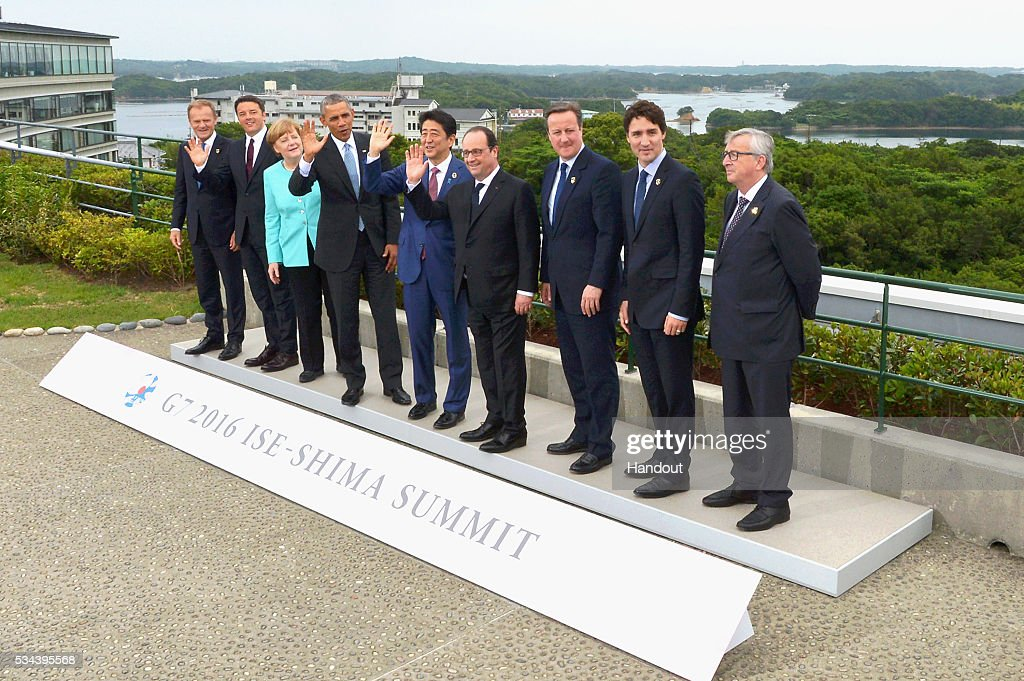 In this handout image provided by Foreign Ministry of Japan, (L to R) European Council President Donald Tusk, Italian Prime Minister Matteo Renzi, German Chancellor Angela Merkel, US President Barack Obama, Japanese Prime Minister Shinzo Abe, French President Francois Hollande, British Prime Minister David Cameron, Canadian Prime Minister Justin Trudeau and European Commission President Jean-Claude Juncker pose for a family photo at the Shima Kanko Hotel on May 26, 2016 in Kashikojima, Japan. In the two-day summit, the G7 leaders are scheduled to discuss the pressing global issues including counter-terrorism, energy policy, and sustainable development.