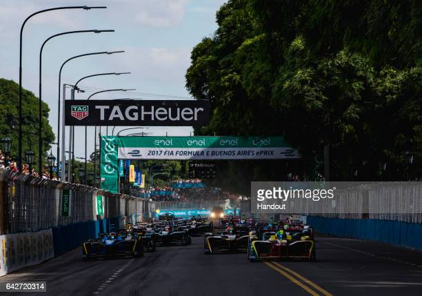 In this handout image provided by Formula E Lucas Di Grassi ABT Schaeffler Audi Sport SparkAbt Sportsline ABT Schaeffler FE02 leads the field at the...