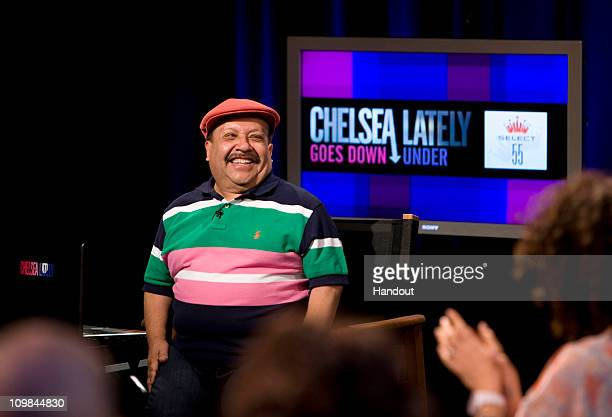 "In this handout image provided by Foxtel, Chuy Bravo appears on Chelsea Handler's late night talk show ""Chelsea Lately"", currently being filmed in..."