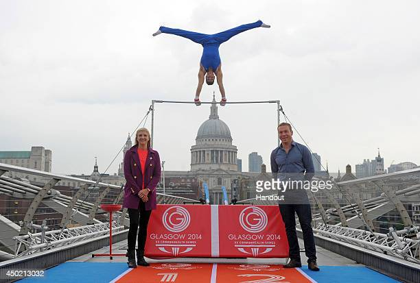 In this handout image provided by Glasgow 2014 Ltd Olympic athletes and 2014 Commonwealth Games ambassadors Rebecca Adlington Louis Smith and Sir...