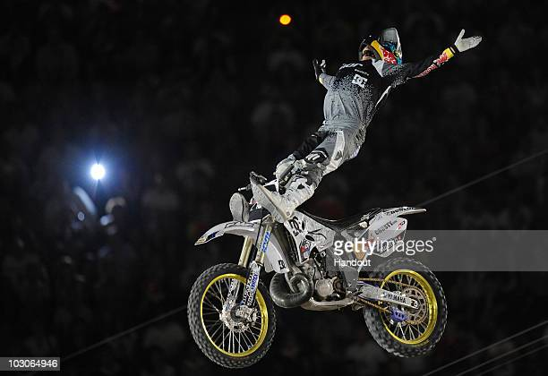 In this handout image provided by GlobalNewsroom Australian rider Robbie Maddison competes in the fourth stage of the Red Bull XFighters World Tour...