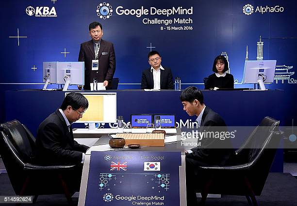 In this handout image provided by Google South Korean professional Go player Lee SeDol prepares for his match against Google's artificial...