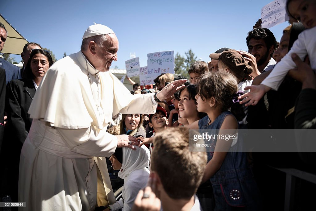 Pope Francis Visits The Greek Island Of Lesbos To Meet With Migrants : News Photo