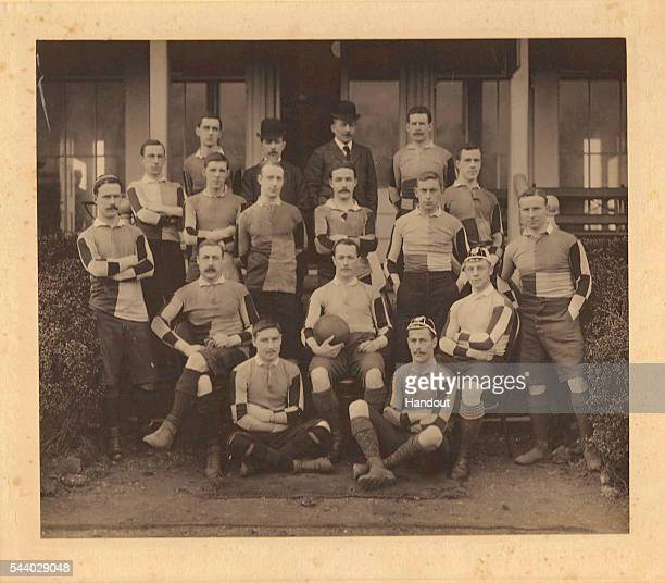 In this handout image provided by Harlequins Rugby The Harlequins Rugby Union team of 1896 pose for a team photo at Chiswick Park London England...