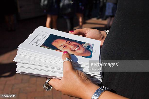 In this handout image provided by Hillsong Church an Order of Service Booklet is seen with a photo of Andrew Chan on the cover during his funeral...