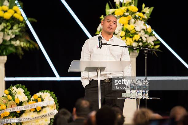 In this handout image provided by Hillsong Church Michael Chan attends the funeral service for his brother and executed Bali nine member Andrew Chan...