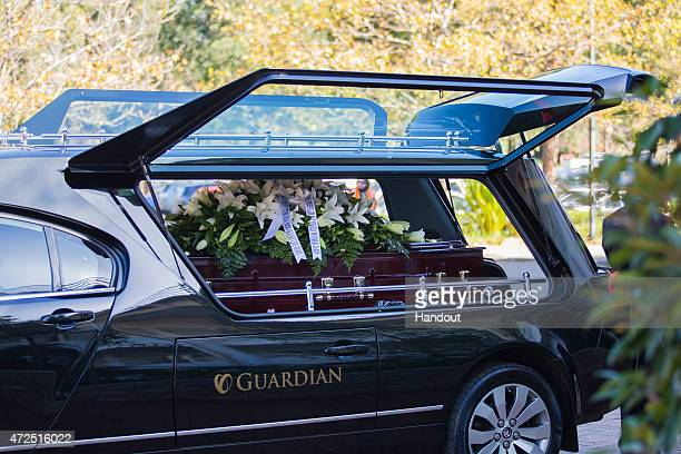 In this handout image provided by Hillsong Church the hearse carrying the coffin for executed Bali nine member Andrew Chan arrives at Hillsong Church...