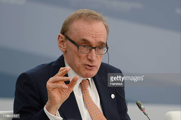 In this handout image provided by Host Photo Agency Australian Minister for Foreign Affairs Bob Carr attends a meeting with Business 20 and Labour 20...