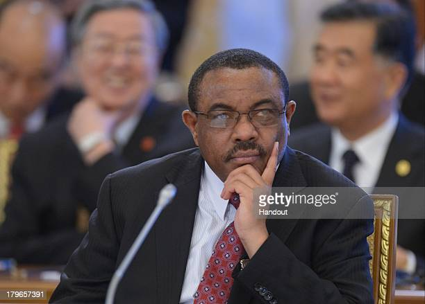 In this handout image provided by Host Photo Agency Hailemariam Desalegn Prime Minister of the Federal Democratic Republic of Ethiopia Chairman of...