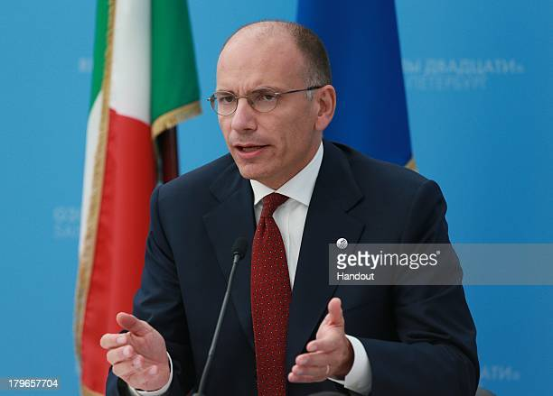 In this handout image provided by Host Photo Agency Prime Minister of Italy Enrico Letta speaks during a press conference at the end of the G20...