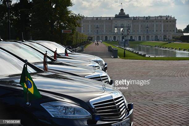 In this handout image provided by Host Photo Agency Row of cars at the meeting of the BRICS delegation heads The BRICS delegation is attended by the...