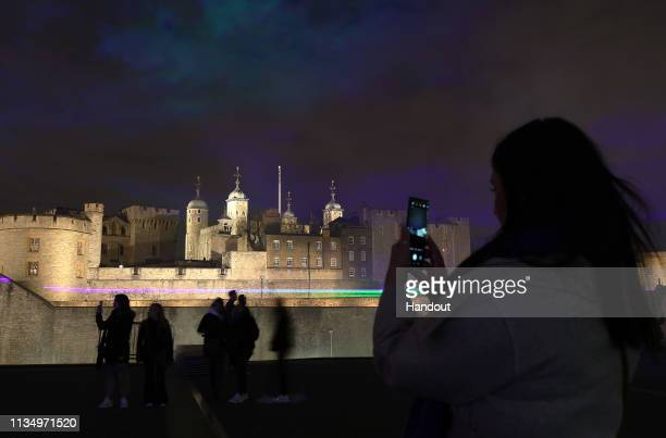 USE *** In this handout image provided by Huawei Huawei brings the Northern Lights to London to celebrate the launch of the Huawei P30 Pro...