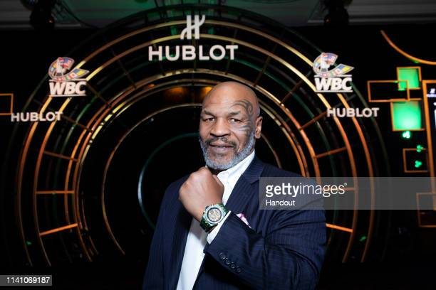 In this handout image provided by Hublot Mike Tyson attends the Hublot x WBC Night of Champions Gala at the Encore Hotel on May 03 2019 in Las Vegas...