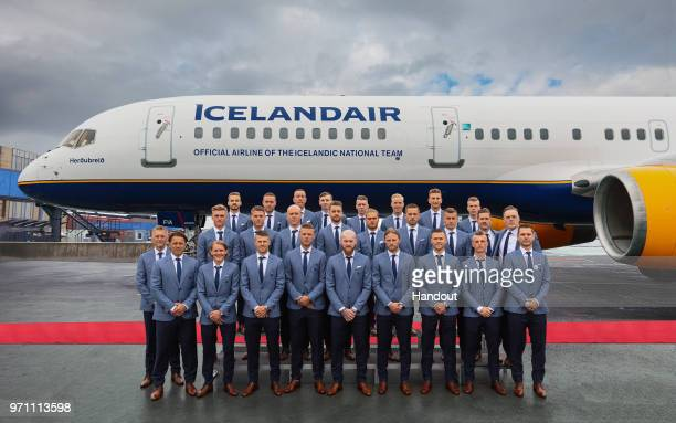 In this handout image provided by Icelandair proud sponsors Icelandair sendoff the Icelandic national football team to make sporting history as they...