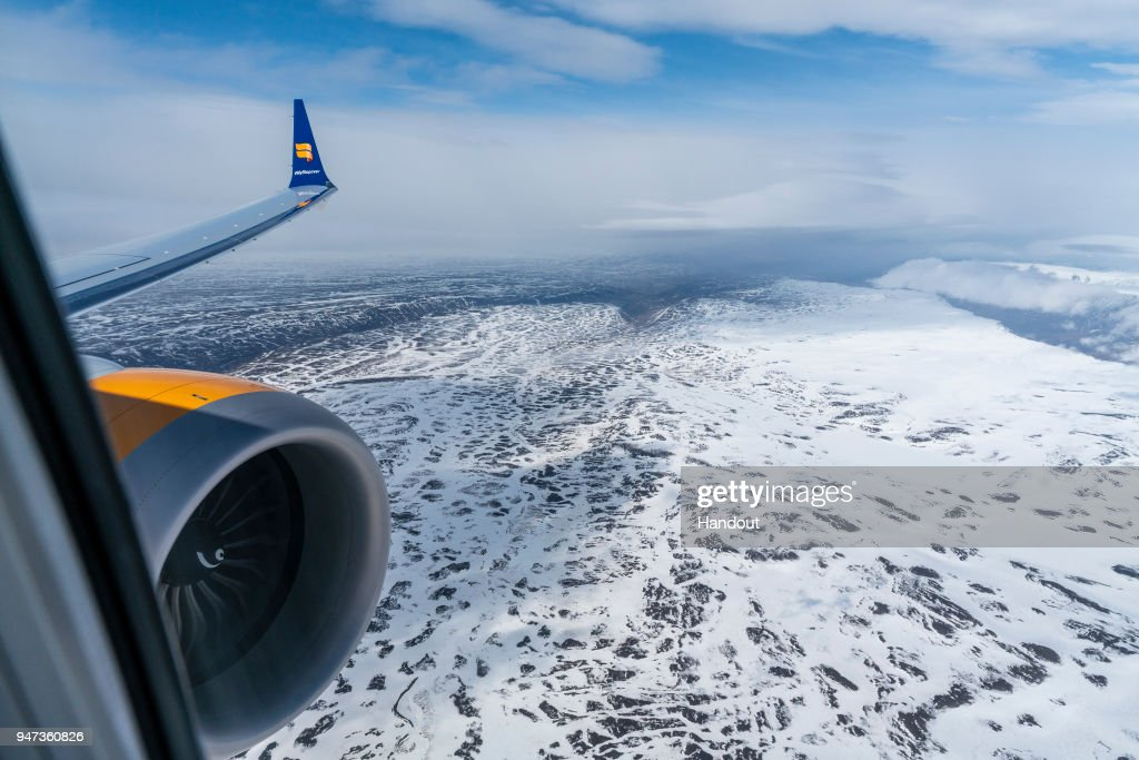 In this handout image provided by Icelandair/The Brooklyn Brothers, Celebratory flight 'Iceland by Air' flies over the highlands in North Iceland as it takes a special route over Iceland's spectacular sights to mark the arrival of Icelandair's new Boeing 737 MAX 8 plane on April 14, 2018 in Iceland.